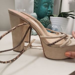 Brian Atwood Shoes - Brian Atwood Nude Suede Heels